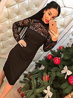 Стильное женское платье миди с кружевом черное, красное, беж