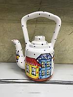 Чайник керамический расписной Домики 7