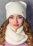 Женская теплая шапка с ушками белая 011