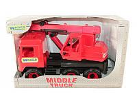 """Детская игрушка машинка WADER """"Кран"""" красный в коробке"""