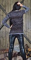 Свитер в полосу коричневый с серым