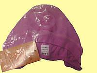 Шапочка для новорожденной, на завязках, розовая