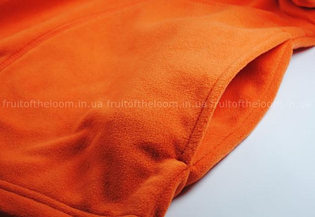Оранжевая мужская классическая флисовая кофта на замке