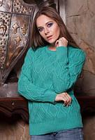 Бирюзовый вязаный женский свитер