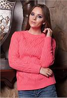Вязаный женский свитер коралловый