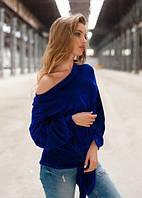Женская синяя кофта из велюра