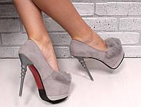 "Туфли ""Спираль"" серые замша на каблуке  код 17524"