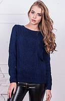 Вязаный свитер темно синего цвета