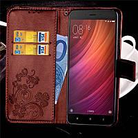 Чехол для Xiaomi Redmi Note 4 / Note 4 Pro книжка Clover коричневый женский