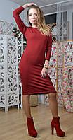 Платье из Ангоры под горло бордовое