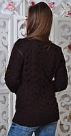 Свитер женский полушерсть коричневый