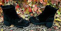 Женские черные ботинки с камнями на удобном каблучке натуральная замша