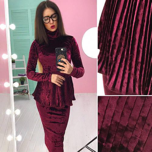 e05b8cfa0d6c Костюм стильный женский блузка с баской плиссе и юбка карандаш мраморный  велюр ...