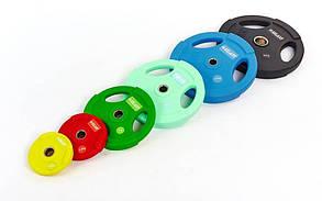 Блины (диски) полиуретановые с хватом и металлической втулкой d-50мм TA-5336(50)-10 10кг (мятный), фото 2