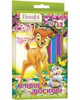 """Карандаши восковые """"1 Вересня"""" """"Bambi"""" 12 цв. + ластик и точилка 540171"""