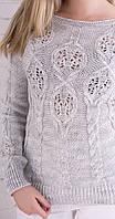 Женский вязаный джемпер серый, фото 1