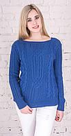 Женский свитер с плетением электрик, фото 1