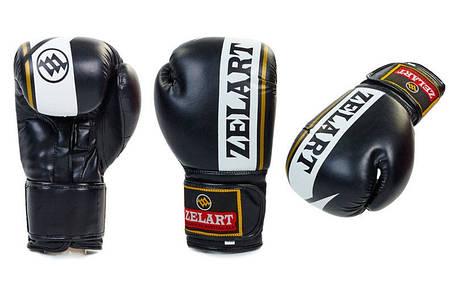Перчатки боксерские FLEX на липучке  ZB-4277-BK, фото 2
