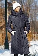 Удлиненное зимнее пальто пуховик без меха
