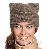 Вязаная женская шапка с ушками капучино 012