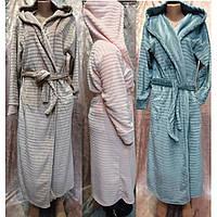 Женский велюровый халат под пояс с капюшоном 48-52 р, женские халаты с капюшоном оптом от производителя