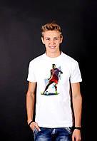 Белая футболка с принтом  ФутболистBAYER  для мужчин и женщин