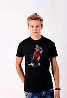 Черная футболка с принтом  ФутболистBAYER   для мужчин и женщин