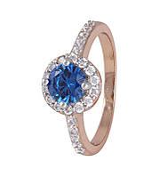 Серебряное кольцо позолоченное с голубым камнем КК3ФЛТ/437