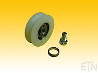 Ролик двери лифта, PA6 ø 62,5 / 50,5 / М10 х 17,5 мм, 1 х шарикоподшипник 6003 ось ZZ центрально М10 внутренняя резьба распорное кольцо, вкл.