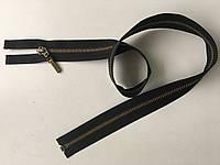 Застежка молния KCC тип 6 метал не полированная зубья бронза 75 см брелок Flip разъемная черный цвет тесьмы