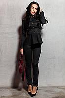 Джинсовый женский брючный костюм с баской (на флисе) 77195
