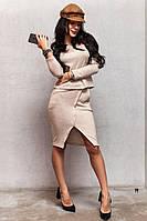 Женский юбочный костюм из ангоры с асимметричной юбкой 77197