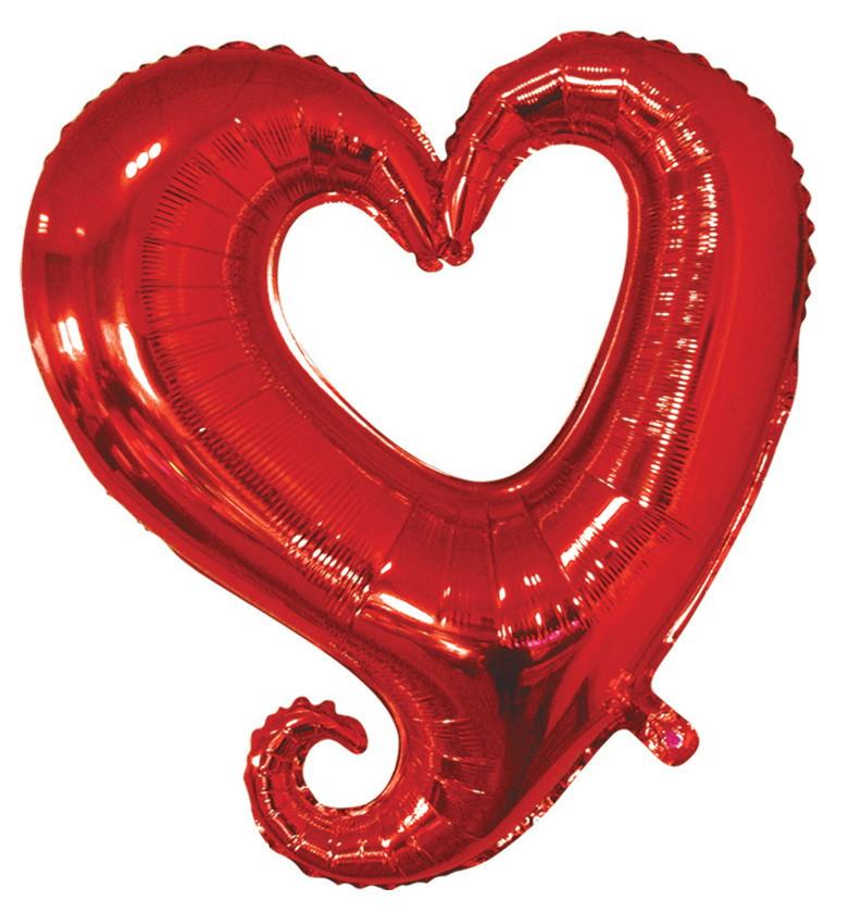 """Шар фольгированный """"Сердце вензель красное"""". Размер: 45см."""
