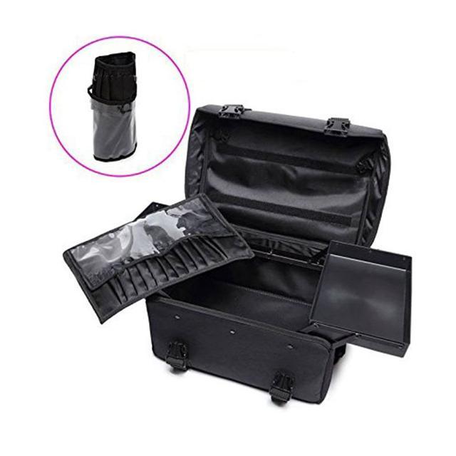 2 in 1 Luxury Nylon Makeup Cosmetic 4 Wheels Rolling Trolley Case Organizer