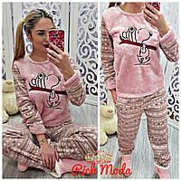 Женский теплый домашний костюм пижама на флисе+повязка для сна р.S (42-44),M (46-48),L (48-50),XL (50-52)
