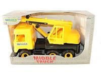 """Детская игрушка машинка WADER """"Кран"""" жёлтый в коробке"""