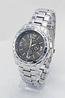 Мужские наручные часы Goldlis (черный циферблат, серебристый ремешок) (Копия)