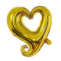 """Шар фольгированный """"Сердце вензель золотое"""". Размер: 45см."""