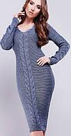 Вязаное платье с декором цвета стали