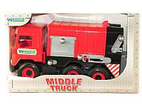 """Детская игрушка машинка WADER """"Мусоровоз"""" красный в коробке"""
