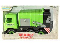 """Детская игрушка машинка WADER """"Мусоровоз"""" зелёный в коробке"""