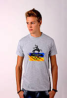 Серая футболка с принтом  Греко-Римская Борьба  для мужчин
