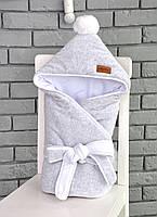 """Стильный демисезонный велюровый конверт-одеяло с помпоном """"Меланж""""  серый"""