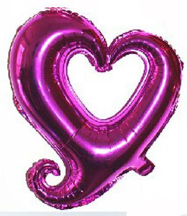 """Шар фольгированный """"Сердце вензель фиолетовое"""". Размер: 45см."""