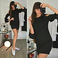 Короткое платье с рюшами на рукавах и разрезами на плечах 73502