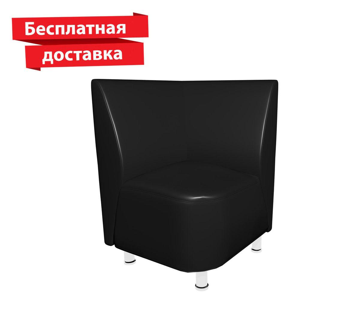 Кресло - угол из кожзама для кафе, офиса черное, фото 1
