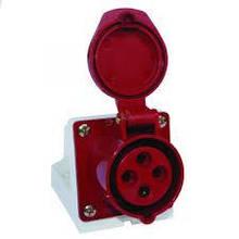 Розетка стаціонарних. зовнішня 114 16А 380-415В4 контакту (3P+E) Червоний