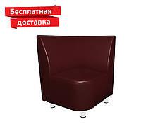 Кресло - угол из кожзама для кафе, офиса бордовое, фото 1
