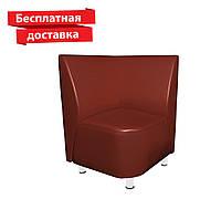 Кресло - угол из кожзама для кафе, офиса коричневое, фото 1
