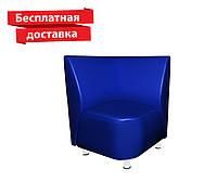 Кресло - угол из кожзама для кафе, офиса синее, фото 1